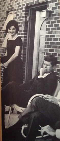 """I'm a woman above everything else"" Jackie Kennedy with JFK in the small backyard of their N street home."