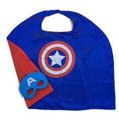 Superhero Child Cape and Mask Satin Lined Cape Blue with Silver and Red Sign