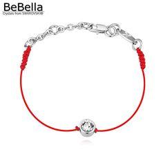 BeBella тонкий красный и черный шнур строка темы веревка линия браслет с кристаллами от Swarovski позолоченные цепи женщины подарок