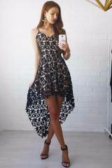 Black Floral Lace Trim Asymmetric Spaghetti Strap Dress - S