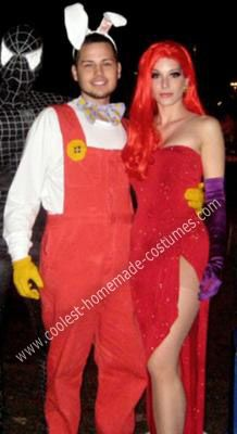 Homemade Jessica and Roger Rabbit Couple Costume: I have always loved the movie Who Framed Roger Rabbit and always thought Jessica Rabbit was the 'cat's pajamas' haha. My boyfriend and I therefore chose