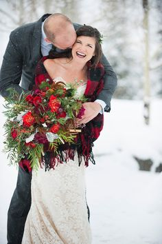 Gorgeous shot by Brinton Studios!  Love the massive bouquet by March Floral Designs and the buffalo plaid blanket ~ we ❤ this! moncheribridals.com