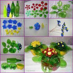 Flores hechas con pet