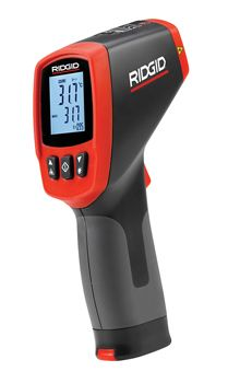 micro IR-100 non-contact infrared thermometer The RIDGID micro IR-100 Non-Contact Infrared Thermometer provides simple, quick and accurate surface temperature readings at the push of a button.    You simply squeeze the trigger and point the ultra-sharp dual class II lasers at the surface being measured. The micro IR-100 provides an immediate temperature measurement on a clear, easy-to-read backlit LCD display.