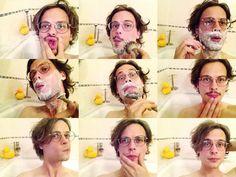Matthew Gray Gubler being cute in the bath.