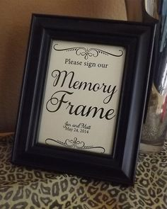 Guest Book Memory Frame Please Sign Our Memory Frame Wedding Signs, Cards and Gifts, Reserved, Photo Booth, Reception Seating