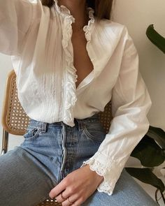 girl   shopping   levi's 501 levi's jeans   denim   womans   blouse   lace   white   selfie   shop now   style   fashion   rings   hands   offwhite   girl   add to cart   styling Levis Jeans, Denim, Blouse Outfit, Fashion Rings, White Lace, Blouses For Women, Bell Sleeve Top, Ruffle Blouse, My Style