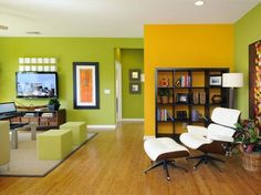 Wall Painting Designs for Living Room Color Scheme For Living Room – How To Pick The Right One Wall Painting Designs for Living Room. A living room is the first room in a home interior that t… Yellow Accent Walls, Accent Wall Colors, Room Wall Colors, Accent Walls In Living Room, Living Room Color Schemes, Living Room Green, Paint Colors For Living Room, Colour Schemes, Lime Green Walls