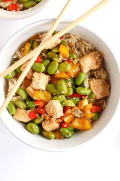 Chicken Edamame Rice Bowl | 12 Chicken and Rice Recipes | Super Delicious Homemade Recipes To Prepare For The Family! by Pioneer Settler at http://pioneersettler.com/chicken-and-rice-recipes/