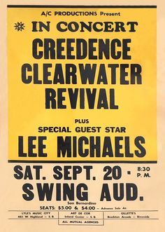 Hippie Posters, Rock Posters, Movie Posters, Vintage Concert Posters, Classic Rock And Roll, Creedence Clearwater Revival, Rock N Roll Music, Jazz Band, Music Charts