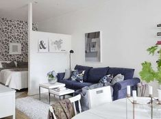 Inside a Sectioned-Off Studio With Style - Studio Apartment Style Tips - Living Area outside of Bedroom area Studio Apartment Partition, Studio Apartment Layout, Studio Apartment Decorating, Apartment Design, Studio Layout, Small Apartment Bedrooms, Small Apartments, Apartment Living, Studio Apartments