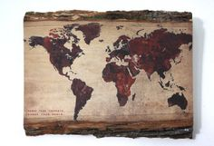 World Map Print with or without saying on Natural Edge Wooden Plaque - Wood Sign Saying - Wood Wall Art