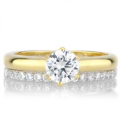 Goldtone Sterling Silver Cubic Zirconia Petite Wedding Ring Set (Size 8), Women's, White