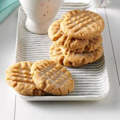 A winner. Peanut Butter Cookies Recipe. Three ingredients, one bowl. I got 24 cookies, so I guess I made them small. Quite tasty.