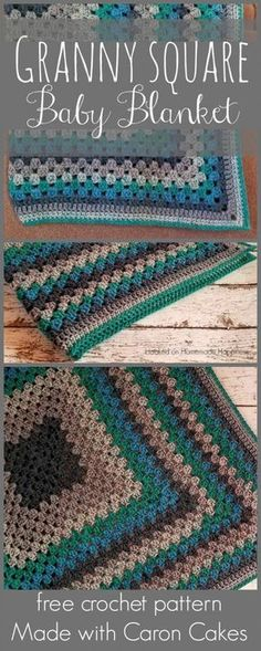 Granny Square Baby Blanket made with Caron Cakes