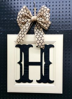 Custom Monogram Door Hanger - Custom Made Wooden with Burlap Bow - Any Letter