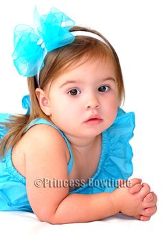 Sheer Bling Turquoise Blue Double Stacked Organza Baby Infant Headband