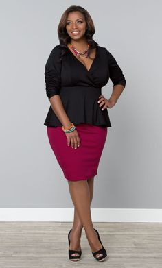You can also go for a more feminine and sophisticated look with our Black Noir plus size Party Ponte Peplum Top and a colorful pencil skirt.  Don't forget the killer heels.  www.kiyonna.com  #KiyonnaPlusYou  #Plussize  #MadeintheUSA  #Kiyonna  #Vegas