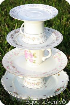 Dessert Tower using vintage tea cups & plates! So cute for a tea party themed birthday. Girls Tea Party, Princess Tea Party, Tea Party Birthday, Cake Birthday, Shabby Chic Birthday Party Ideas, Birthday Crafts, Surprise Birthday, Princess Bridal, Garden Birthday