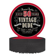 Descriptions Vintage Dude Honeycomb Centerpiece 50th - Design : Vintage Dude - Material : Paper - Size : 12 x 12 Inch Features - Vintage Dude - Centerpiece Ships within 4 Business Days                                                                                                                                                      More