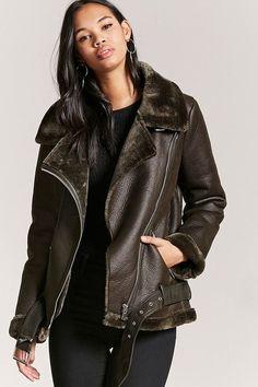 FOREVER 21 Faux Leather Moto Jacket #shearling #motojacket #winter #fashion