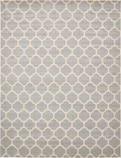 Light Gray 12' 2 x 16' Trellis Rug | Area Rugs | iRugs UK