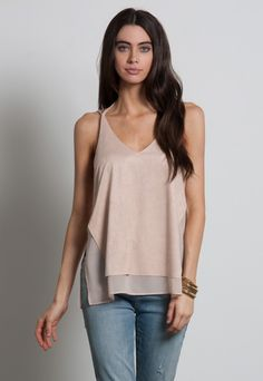 MIXED MEDIA SUEDE CHIFFON CAMI TOP