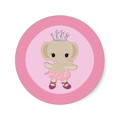 "<div> <font size=""2""><font face=""Verdana""><b>Design Description</b> <br />An EXCLUSIVE original design by <em>MonkeyHutDesigns</em>.</font></font></div> <div> </div> <div><font face=""Verdana"">Features a ballerina elephant, wearing a tutu and dancing. Features: shades of PINK and BROWN color theme/animal cheetah print. Perfect for a jungle safari theme for a GIRL. These seal/stickers also match MonkeyHut's baby shower invitation. Wonderful stickers for many uses, such as cupcake toppers…"