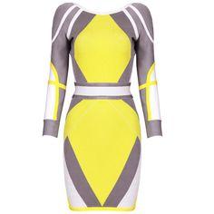 Target Angle Gray Yellow Bandage Bodycon Midi Dress | GIRL CRUSH BOUTIQUE