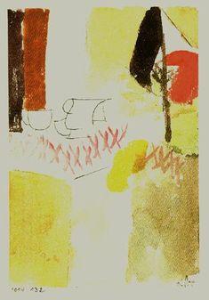 """Paul Klee - 'Fruhstuck mit der Deutschen Flagge' - (1914) 6 x 4"""" Watercolor and pen."""