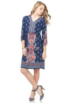 Bordered Paisley Blouson Dress-Plus Dresses Cato Fashions