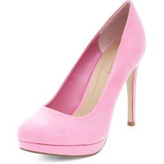 Neon Pink Platform Court Shoes (110 QAR) ❤ liked on Polyvore featuring shoes, pumps, heels, platform heels pumps, stiletto heel pumps, heels stilettos, neon pink pumps and platform pumps