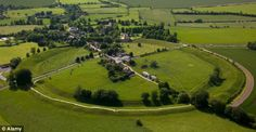 Aerial View of Avebury Village and Neolithic Henge Stone Circle