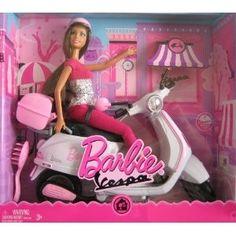 Barbie scooter dolls | Barbie Vespa Doll & Vehicle w Barbie Doll & Scooter (2008)