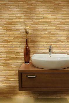 Caprice Vanilla Blend in a full wall backsplash
