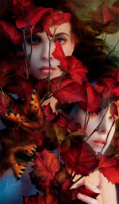 Just the Wind in the Trees, artist Bente Schlick Autumn Day, Autumn Leaves, Red Leaves, Autumn Theme, Mystique, Wow Art, In The Tree, Pablo Picasso, Shades Of Red
