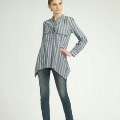 """Elizabeth and James """"June"""" Top Details-  Color: Blue,  Lightweight striped silk woven,  Partial pearlescent button placket,  Dual flap pockets at chest with center pleats, Long sleeve,  Double button cuff,  Fishtail hem, Contemporary fit,  100% Silk; style# 311779201, Imported, Small mark on right arm, hardly noticeable..See photo #4. Elizabeth and James Tops Blouses"""