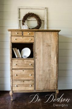Raw wood finish is stunning on this rescued and repurposed armoire. I just love the farmhouse style! Raw Wood, Farmhouse Style, Diy Furniture, Repurposed, Armoire, Buffet, Dresser, Footlocker, Closet