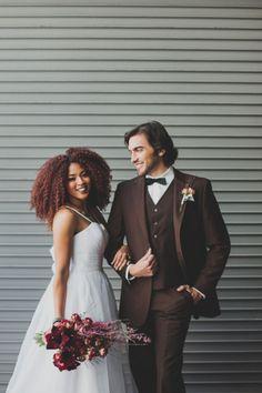 Modern Red Industrial Wedding Inspiration_0004 #naturalhairbride