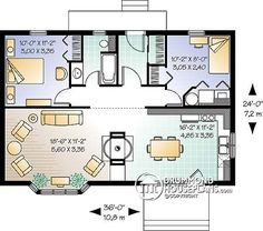cute tiny house plan, airlock entry, could easily be made wheelchair friendly. Like it.
