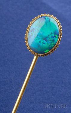 Art Nouveau 14kt Gold and Black Opal Stickpin