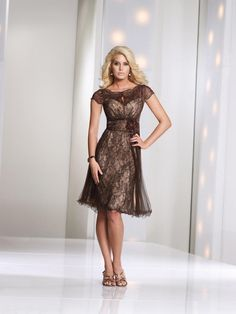 Latest Illusion Knee Length Brown Lace A Line Mother Of The Bride Dress