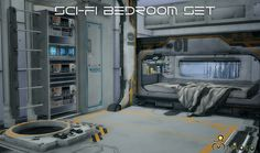 Sims 4 CC's - The Best: TS2 Sci-Fi Bedroom Set Conversion by Mimoto