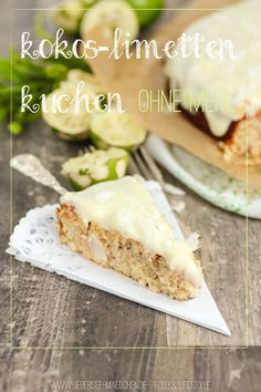 Kokos-Limetten-Kuchen ohne Mehl – holt schon mal den Sommer her;-) Coconut-lime cake without flour – bring the summer here 😉 Low Carb Desserts, Healthy Dessert Recipes, Low Carb Recipes, Snack Recipes, Snacks, Drink Recipes, Coconut Recipes, Baking Recipes, Coconut Lime Cake