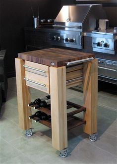 Butcher Block Island With Cradle Wine Rack