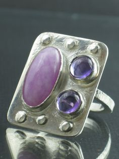 Sterling Silver Ring Sugilite and Amethyst Ring by AlexSharDesigns, $90.00