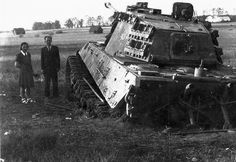 "m4a1-shermayne:    Abandoned King Tiger stuck in the Czech Mokre luky (""Wet Meadows""). In the vicinity of the Czech town of Třeboň. May 1945."