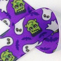 "CLOSEOUT SALE!  Halloween Purple Frankenstein 7/8""  Grossgrain Ribbon by the…"