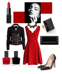 """Hello Moto"" by parisareyhanian ❤ liked on Polyvore featuring Bounkit, Ippolita, Valentino, RGB, NARS Cosmetics, River Island, Christian Louboutin and Chicwish"