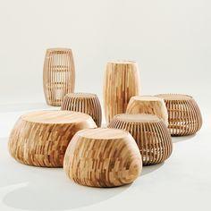 Motley drums creates drum-like forms made from solid reclaimed cedar, and oak batons designed to be used as tables and seating.